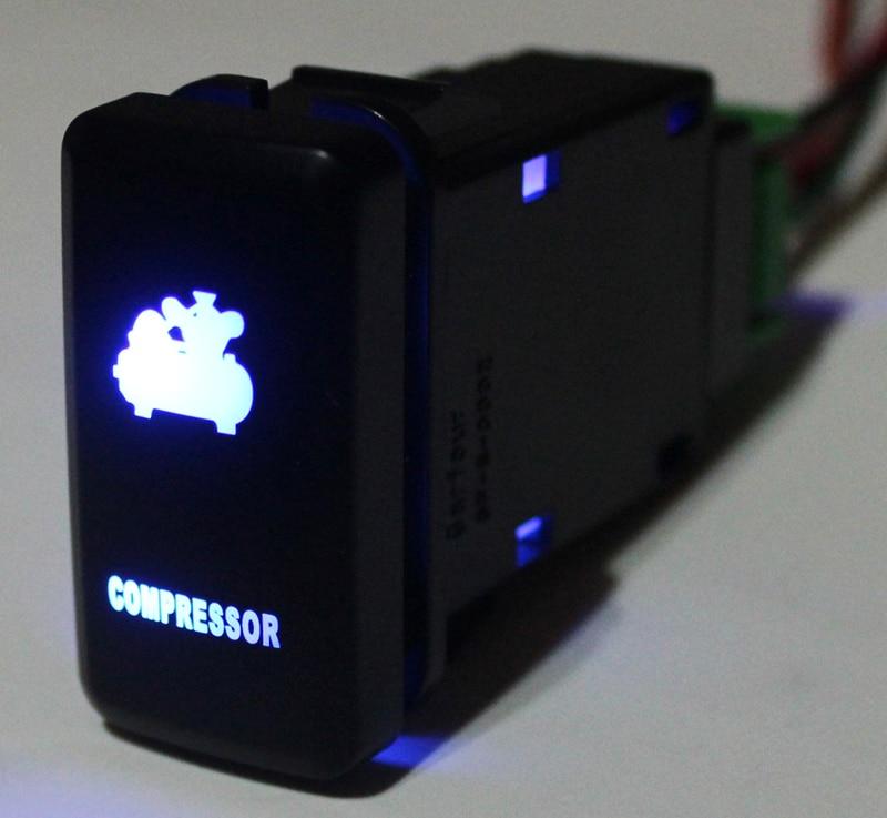 Bleu LED Push Button Switch Voiture Compresseur Pour Toyota Prado Landcruiser Hilux FJ Cruiser SUR Off Avec Fil 12 Volts Ampères