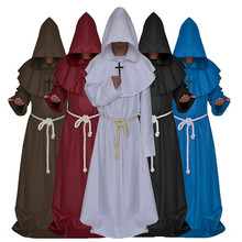 Monk Hooded Robes Cloak Cape Friar Medieval Renaissance Priest Cosplay  Costume Halloween costume for women men D05760