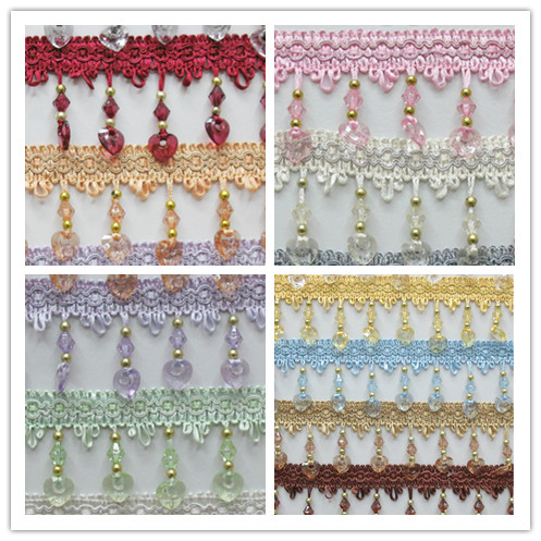 12Yard/Lot 14 Colors Curtain Lace Accessories Tassel Fringe Trim DIY Love Beads Crystal Bead Drapery Sewing Textile Decoration