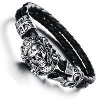 Men Vintage Jewelry Steam Punk Skull Leather Bracelet Hand Woven Bangle In Black Fashion Items Wholesale