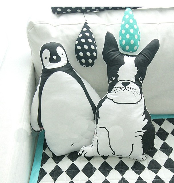 Child Favor White Black Dog Penguin Shape Cotton Baby Pillow Lovely Cushions Kid Home Decoration Birthday