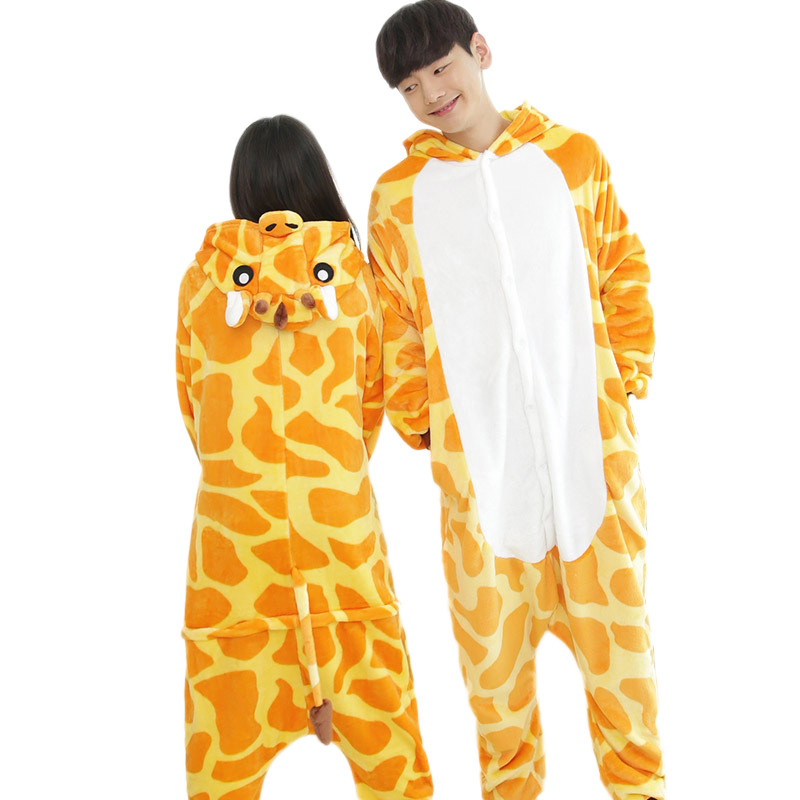 Unisex Adult Giraffe Pajamas Cosplay Cartoon Costume Animal Sleepwear Nightwear  Halloween Dress Up Sleepshirt