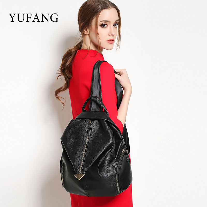 YUFANG Brand Women Backpack For Teenage Girls Genuine Leather Backpacks Black Bags Female School Bag 20017 Fashion Daypack