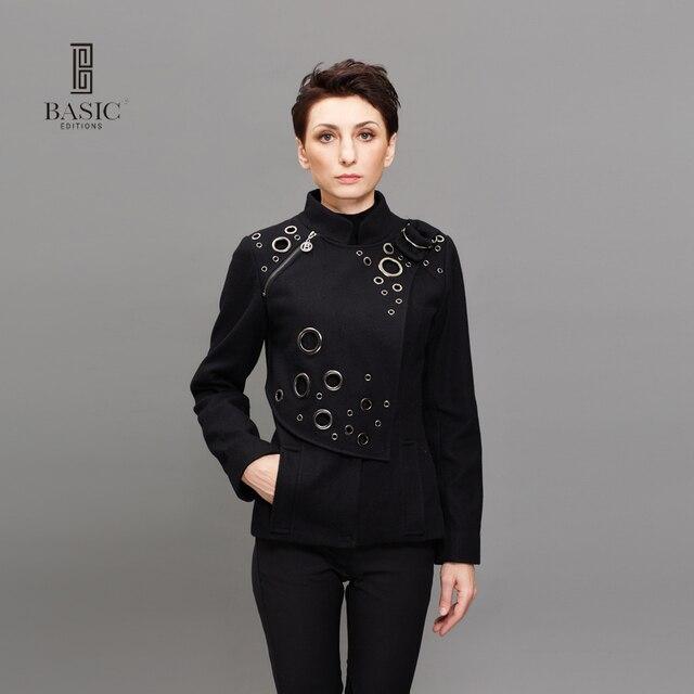 ОСНОВНЫЕ Весна Осень Куртка Женская Мода Металлический Круг Мандарин Воротник Черный Куртки Молния Сращены Пальто Casaco Feminino 9S-1023