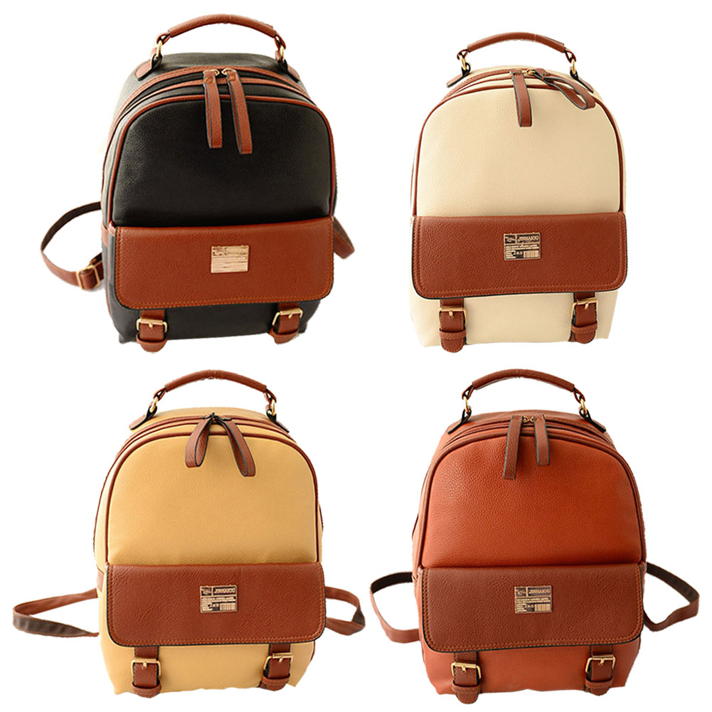 PU Leather Backpacks Fashion Women Patchwork Student School Supplies Bags Delicate Shoulder Bag Retro Style Girl 4 Colors -47