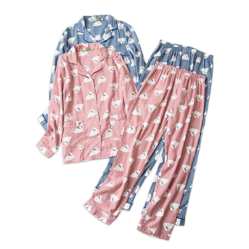 Female cute rabbit 100% cotton pajamas sets sexy gauze cotton pink plus size pyjamas women sleepwear sexi pijamas feminino-in Pajama Sets from Underwear & Sleepwears