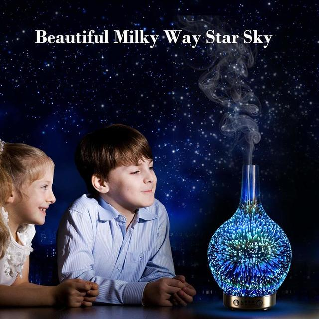 Essential oil diffuser 7 Color 3D LED Glass Starry Sky Home Office Aromatherapy Oil Diffuser Cold Mist Ultrasonic Humidifier