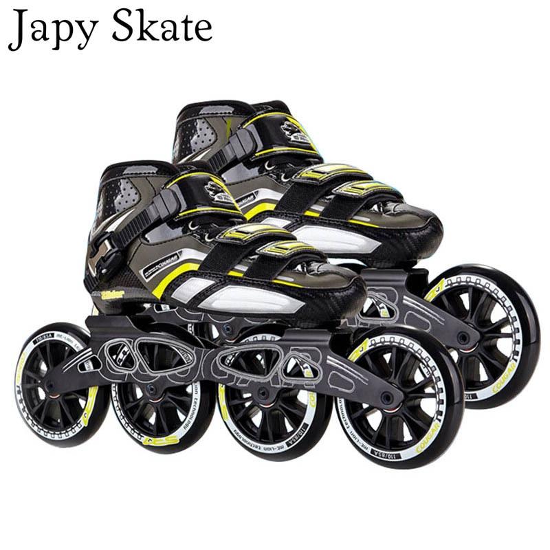 Prix pour Jus japy Skate Original Cougar SR7 Inline Patins Vitesse En Fiber De Carbone Adulte Enfant Enfant Rouleau De Patinage Chaussures 100/110mm Racing Patines