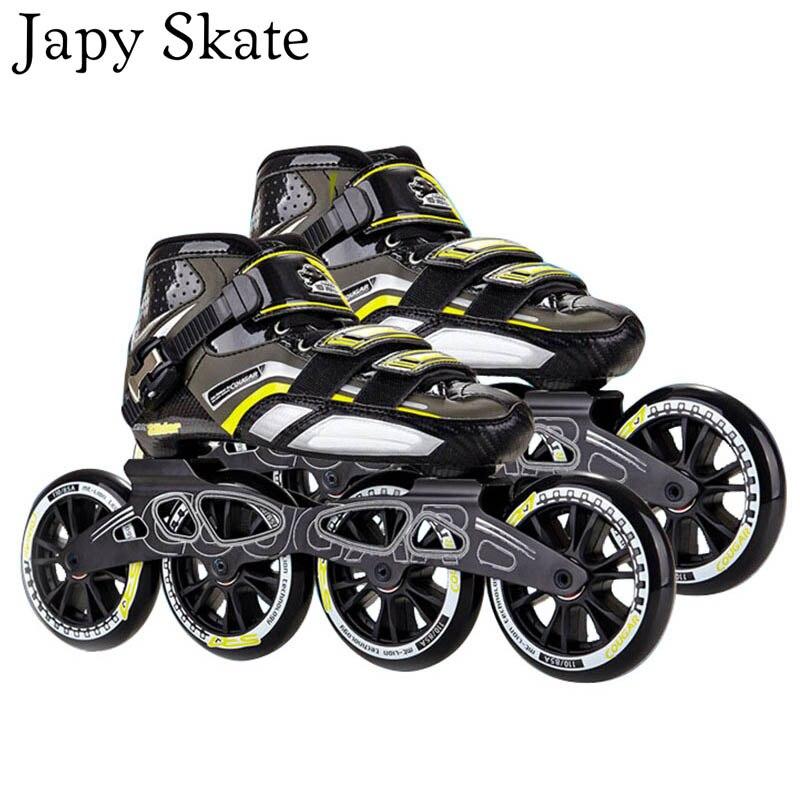 Patins à roulettes Japy Original Cougar SR7 patins à roues alignées vitesse fibre de carbone adulte enfant chaussures de patinage à roulettes 100/110mm Patines de course