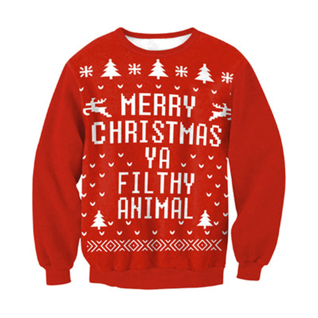 01676f400 New Merry christmas ya filthy animal Letters print Sweats Women Sweatshirts  Long Sleeve Pullovers Fashion Unisex Outerwears Tops