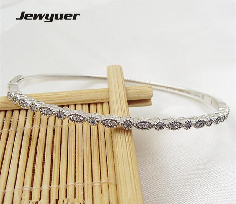 925 Sterling Silver jewelry Timeless Elegance bracelets for women bangle Fit charms beads DIY fine Jewyuer