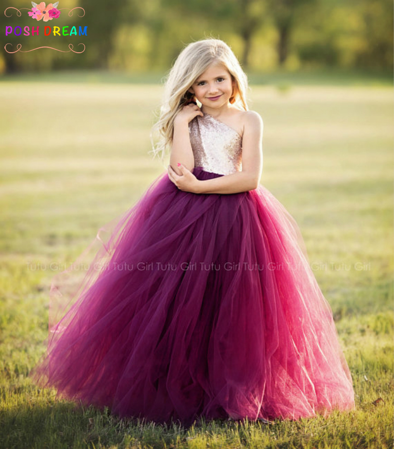 POSH DREAM Wine Flower Girl Dress Burgundy and Champagne Kids Girls Tutu Dress Champagne Sequin Pageant Girls Wedding Dress
