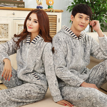Women Sleepwear Long-Sleeve Pajamas Autumn and winter flannel Warm Love Mens Pyjamas Women's Sleep Lounge Couple Pajama Sets