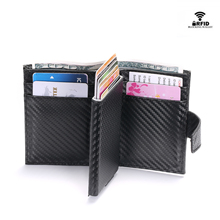 BYCOBECY Newest Male Card Holder RFID Aluminium Alloy Credit Metal Leather Wallet Antitheft Men Automatic Case