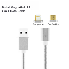 2 In 1 Magnetic Nylon Braided Lightning Charging Cable For Iphone Xiaomi Nokia ASUS LG Android Phones Fast Charge