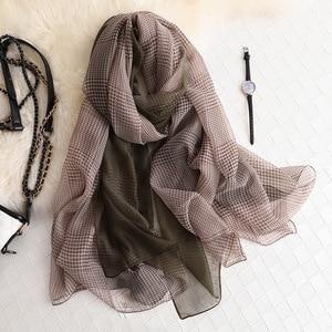 Image 4 - Thương hiệu mùa hè 2019 LụA Nữ khăn choàng và đeo thời trang kích thước lớn mềm mại Khăn choàng Pashmina bãi biển stoles foulard echarpe Hijabs