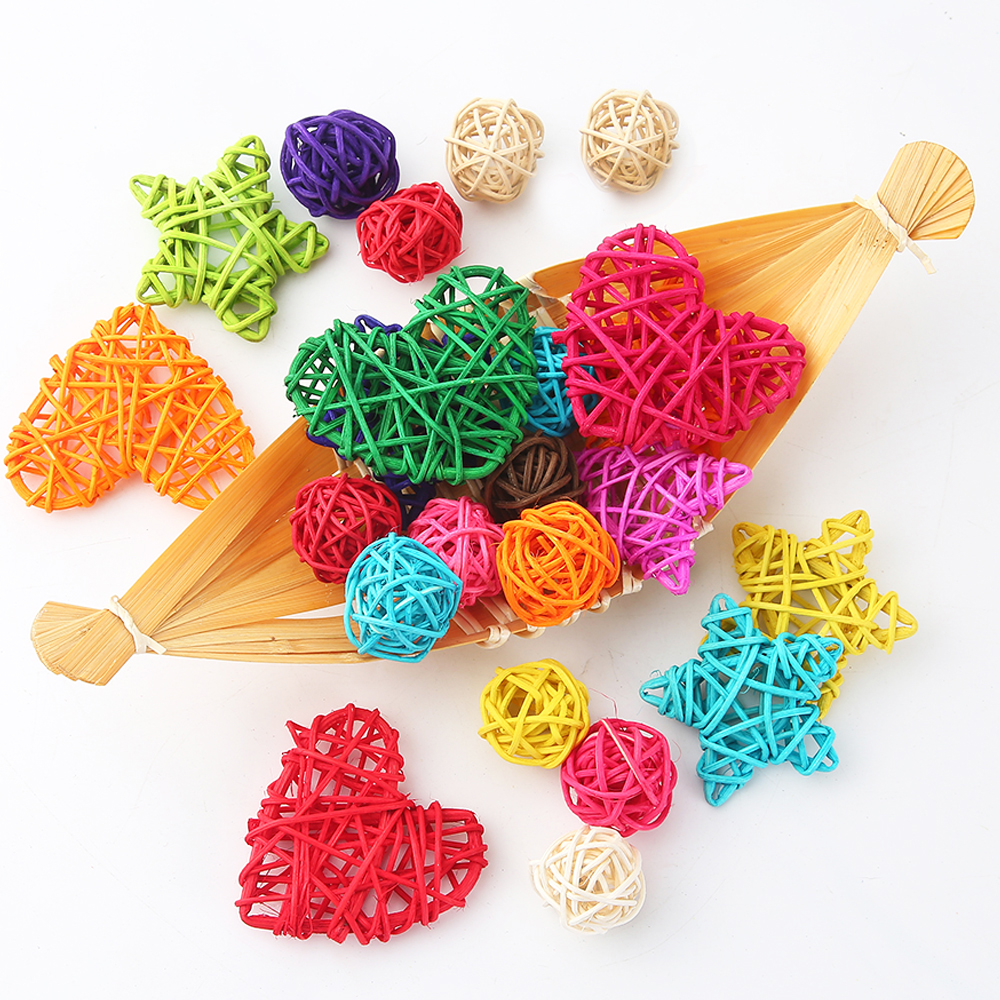 10pcs Wicker Balls Natural Straw DIY Hanging Decor Party 5cm Rattan Ball