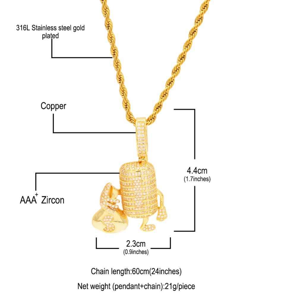 CÁC BLING VUA Micro Với Túi Tiền Mặt Dây Chuyền Vòng Cổ Micro Trải Nhựa AAA Cubic Zirconia Bạc Vàng Đôi Màu Trang Sức