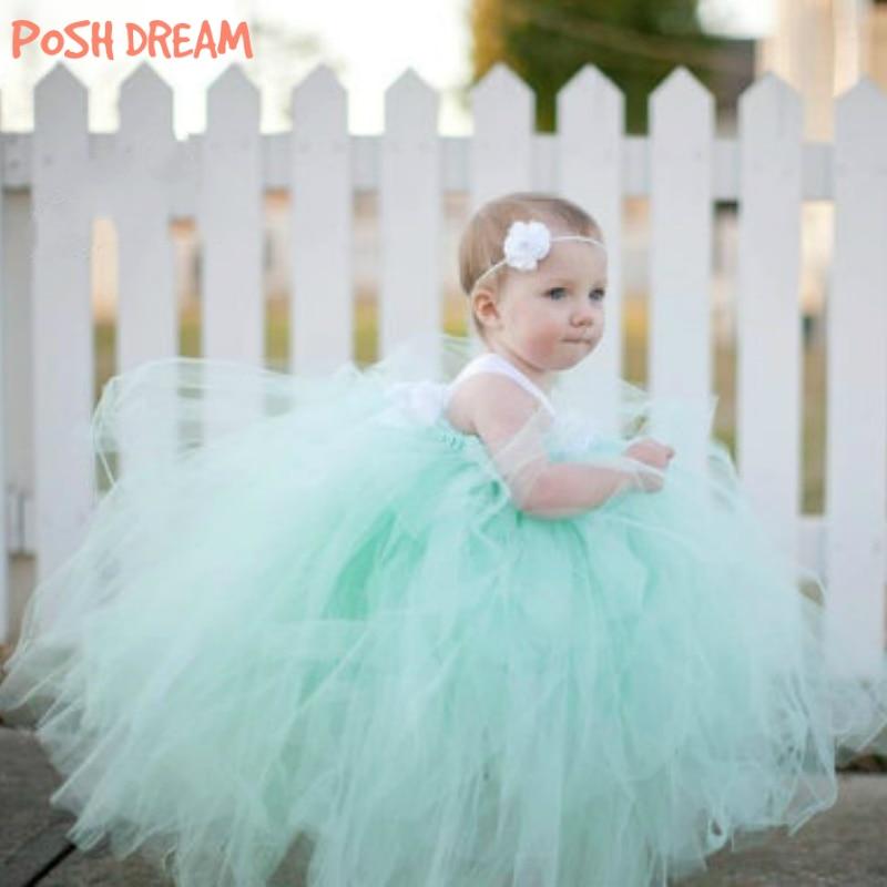 POSH DREAM Mint Green Flower Baby Girls Tutu Dress for Birthday Photograph Fluffy Flower Kids Tulle Dress Kids Girls Clothes mint green casual sleeveless hooded top