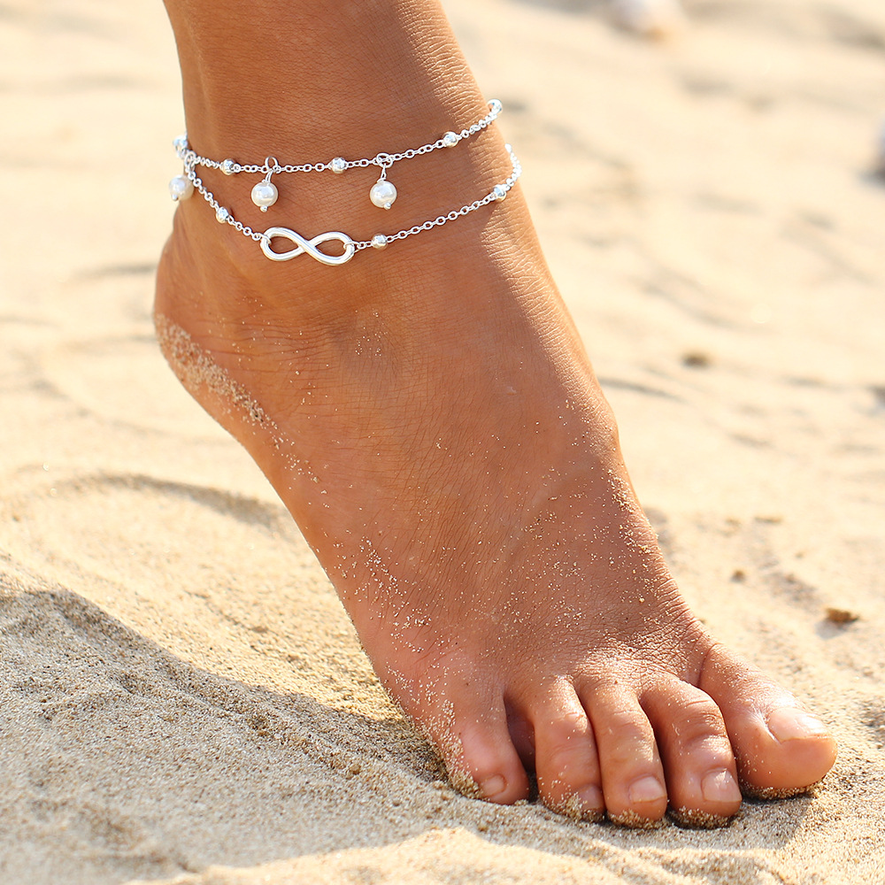 Fashion Design Summer Style Beach Silver Color Anklet Two layers Charm Chains Anklet Simulate Peal Women Lady Anklets Jewelry