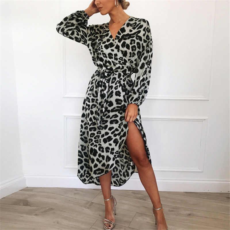 Aachoae leopar elbise 2020 kadınlar Vintage uzun plaj elbise gevşek uzun kollu v yaka A-line seksi parti elbise Vestidos de fiesta