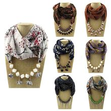 180x48cm Women Ethnic Geometric Beaded Pendant Scarf Artificial Flower Tassels Necklace Collar Floral Printed Bohemian Chiffon
