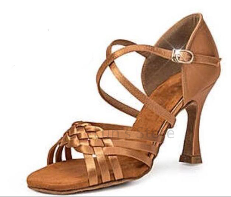 New Ladies Girls Tan Satin font b Salsa b font Ballroom Dance font b Shoes b