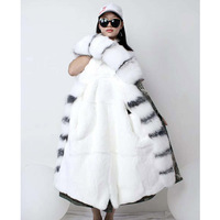 Real Fur Parka Winter Fashion Natural Rex Rabbit Fur Parka Real Fox Fur Jackets Women Long Sleeve Fur CamouflagCoat Female WT094