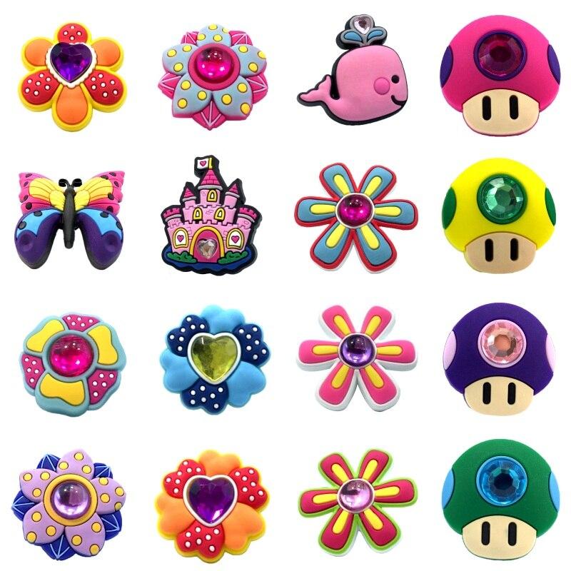 1PCS Crystal & Flower Butterfly PVC Shoe Charms Shoe Accessories Shoe Buckles Decor Fit Bracelets Croc Charms JIBZ Children Gift