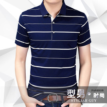 Free shipping 2018 summer men's fashion  pure cotton Striped Color polo shirt short-sleeve  men's casual tops clothing ZZ0806