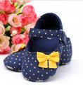 Navy Baby Girl Infant Shoes with small yellow polka dots 11.5cm 13cm