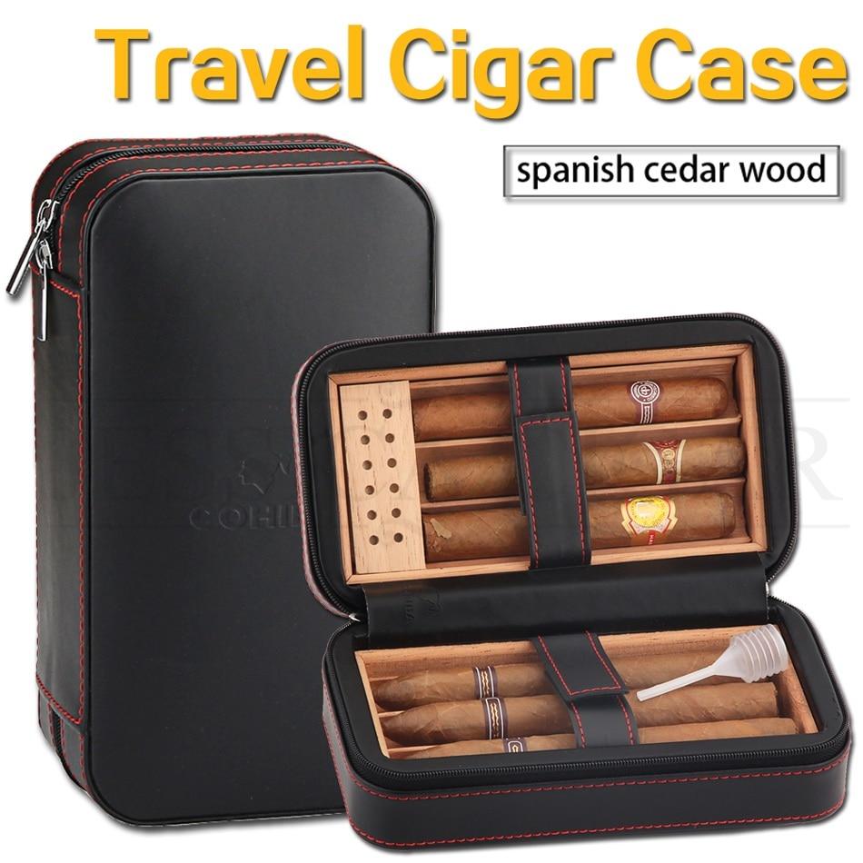 Travel Cigar Humidor Box Leather Cigar Case Portable Cedar Wood COHIBA Humidor Hold 6 Cigars With