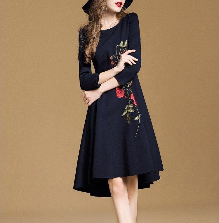 36a42d3dd0 H 2018 Trendy Jesień Sukienka Haft Nierówne Sukienka Moda Jesień Sukienka  Kobiety Odzież Linii Midi Sukienka Kobieta Odzież XXL w Lguc.