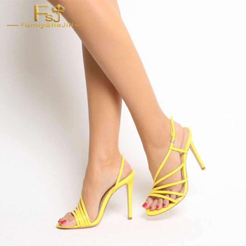 Women Shoes Ladies Pumps 2020 Spring Autumn Yellow Patent Leather Office Sandals Open Toe Dressy StilettoPlus Size Shoes11 12 13