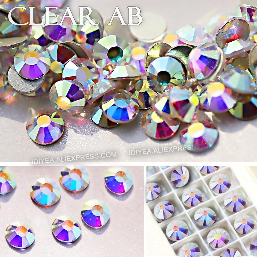 AAA CALIDAD CLARO AB SS3 SS4 SS5 SS6 SS10 SS16 SS20 SS30 SS30 Rhinestone Glitter No Hot Fix Cristal piedra strass trabajo de bricolaje