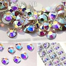 Фотография AAA QUALITY CLEAR AB SS3 SS4 SS5 SS6 SS10 SS16 SS20 SS30 Nail Rhinestone Glitter Non Hot Fix Crystal stone strass DIY work