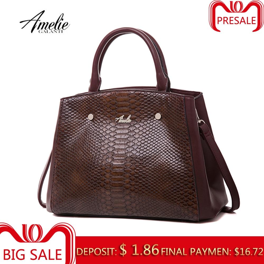 AMELIE GALANTI Женская сумка к/з материал как змея классически дорога вместительна удобна и более Высокого качества PU Специально для благородство...