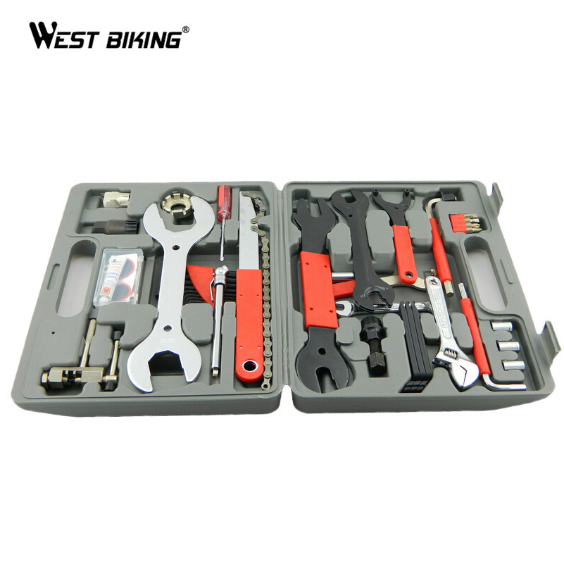 WEST BIKING Bike Tools Full Set of Maintenanc Repair Tool Bicycle Cycling Tyre Tire Patch Repair Accessories MTB Bike Tools Sets west biking bike chain wheel 39 53t bicycle crank 170 175mm fit speed 9 mtb road bike cycling bicycle crank