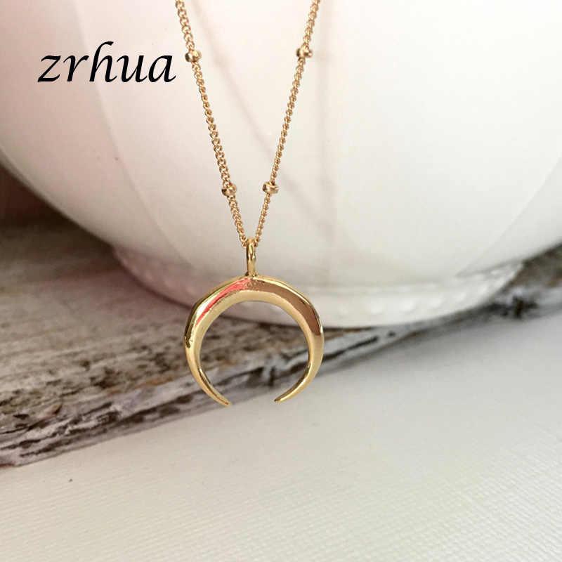 ZRHUA proste serce naszyjnik dla kobiet krótki łańcuszek serce księżyc wisiorek w kształcie gwiazdy naszyjnik etniczny naszyjnik choker w stylu boho gorąca sprzedaż