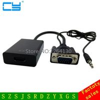 New VGA Male to HDMI Female Converter Adapter Cable with Audio Interface