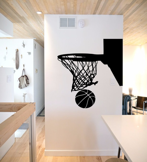 Basket Ball Stickers Muraux Vinyle Noir Sport Gym Peintures