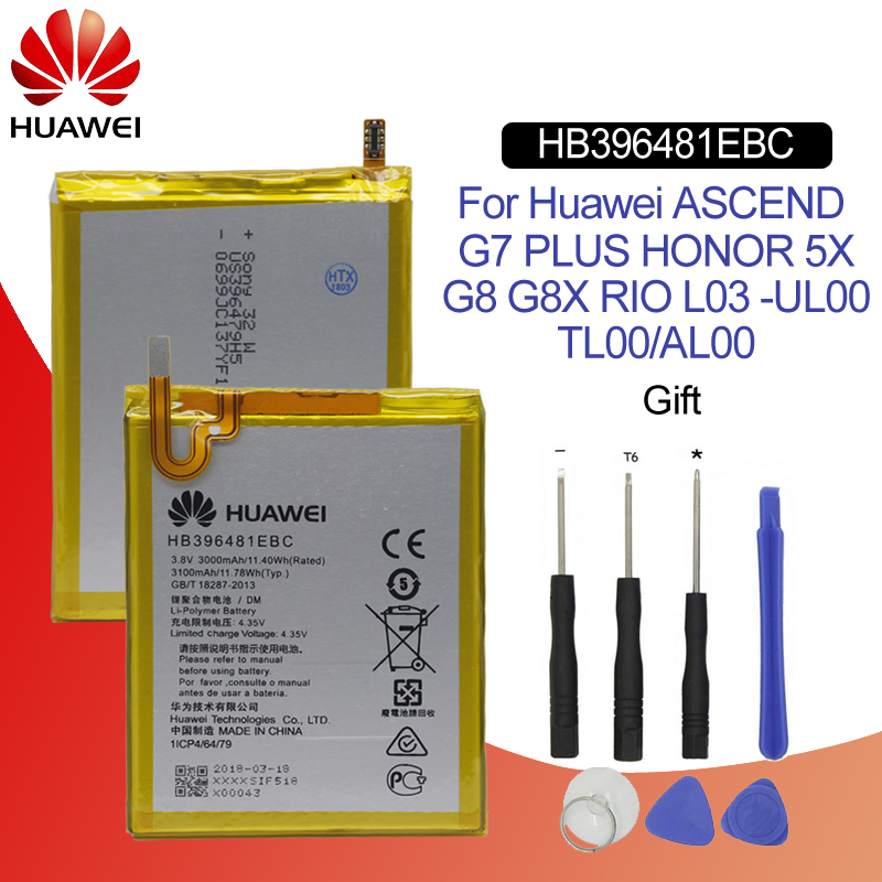 Hua Wei Original Phone Battery HB396481EBC For Huawei ASCEND G7 PLUS HONOR 5X G8 G8X RIO L03  UL00/TL00/AL00 3000mah