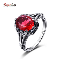 Szjinao Real 925 Sterling Silver Rings Rose Flower Shape Fashion Radiant Finger Rings Red Crystal Wedding