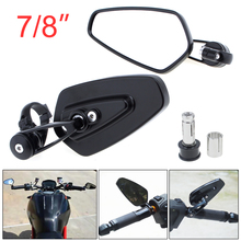 Universal 2x7 8 Aluminum Motorcycle Rearview Mirror Black Billet Bar Side 180 degree adjustable for Motorbike