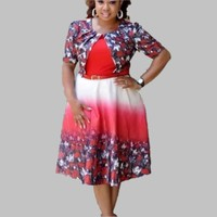 African Dress For Women 2019 Floral Printed A Line Summer Short Sleeve New African Design Bazin Dashiki Dress For Lady