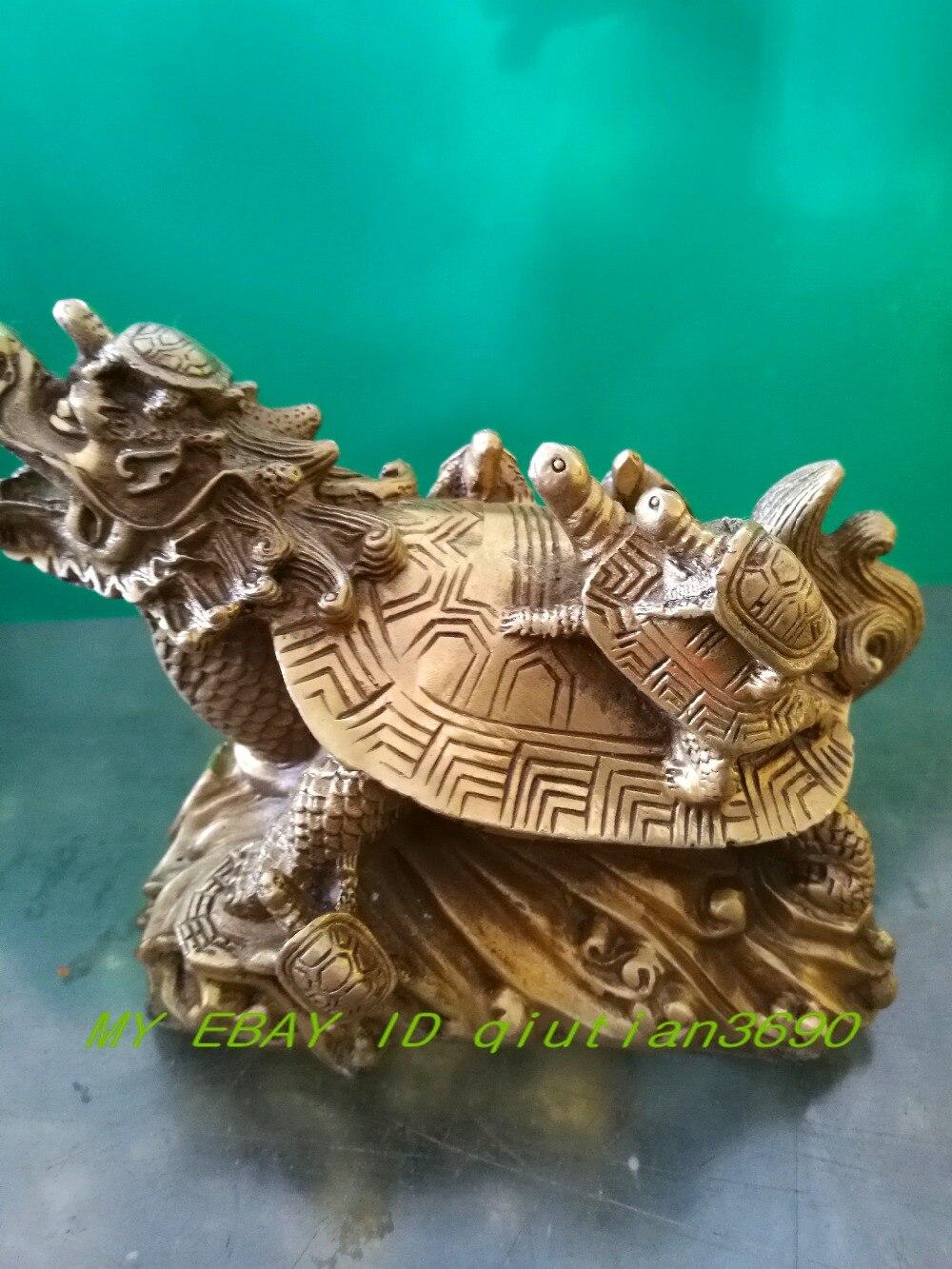 Chine Bronze neuf dragon dragon tortue sculpture ornements longévité chanceux décoration d'ameublement
