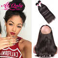 360 Frontal Band With Bundles Malaysian Straight Hair With Closure Alionly Full 360 Lace Frontal Closure With Bundles Human Hair