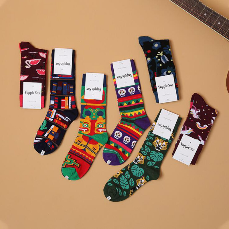 Hip Hop Print Cotton Funny Socks Women Men Skull Flamingo High Crew Socks Man Unisex Casual Socks Christmas Sox Hosiery