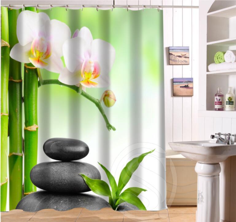 NoCustom Home Decor Zen Stone Fabric Moden Shower Curtain Bathroom