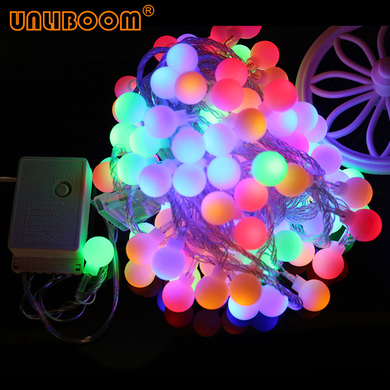 Holiday Lamp String USB 1.5M 3M 6M 10M Fairy Garland Ball LED String Light Battery Operated Christmas Wedding Party 220V EU Plug